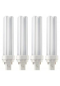 4 PCS Original Philips Master PLC-2P 18W / 827 Energy Saving Light PLC Bulb 2700K (Warm White)
