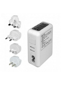 4 USB Ports AC Universal Travel Wall Adaptor Charger with 4 AC Plugs