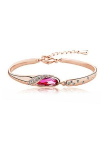 OUXI Glass Shoe Bangle (Rose Gold)