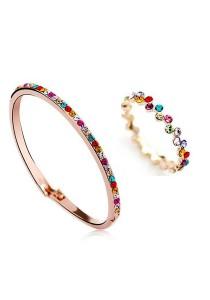 OUXI Diamond Sugar Bangle Ring Set (Size 10)