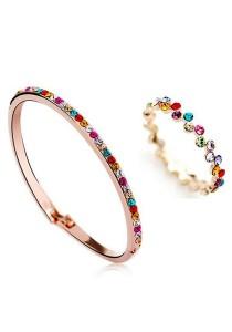 OUXI Diamond Sugar Bangle Ring Set (Size 16)