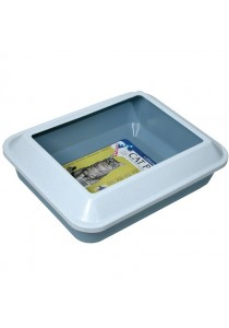 Catit Littershield Pan Set - Marble Cool White Cover with Fog Blue Base - Large