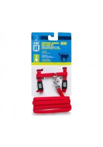 Catit Adjustable Nylon Cat Harness & Leash Set - Red - Small