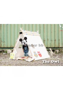 Kids Reading & Playing Triangle Tent/Camp (Free flags, Case, Art Paper) (The Owl)
