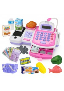 Supermarket Cash Register with Credit Card Reader, Weight Scale, Microphone & Conveyor (Pink)