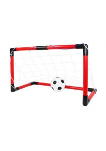 Mini Football Goal Stand Set Indoor Outdoor With Net (For Kids 59cm) (Black) + Pump + Ball