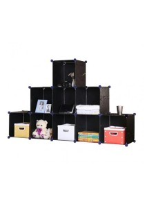 Tupper Cabinet 9 Cubes Black Stripes T-Shape DIY Decorative Shelf