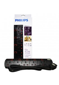 Philips 5 Gang Way with Individual Switch Power Extension Plug Sockets Black (2m cable) (Heavy Duty)