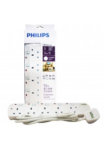 Philips 5 Gang Way with Individual Switch Power Extension Plug Sockets White (2m cable) (Heavy Duty)