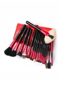 Cerro Qreen Professional Make-Up Brush Set  - Ruby Red (18 Pcs)