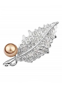 Leaf antique Copper Pearl Brooch