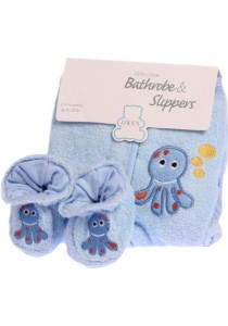 OWEN Bathrobe & Booties Set – Blue