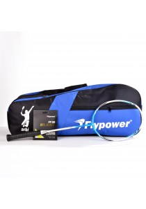 Flypower Badminton Racket Hexa O Speed FOC String FP66JS Blast & Double Zip Bag Bonus