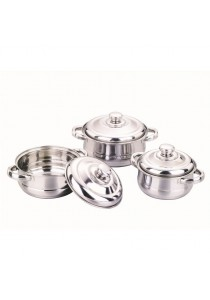 Idea 6 Pcs Stainless Steel Pearl Cookware Set With Stainless Steel Handle 16/18/20CM
