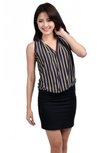 ViQ Ladies Fashion Top (White Stripe)