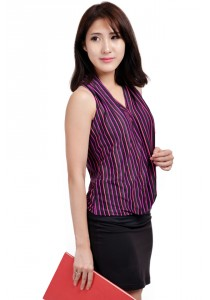 ViQ Ladies Fashion Top (Pink Stripe)