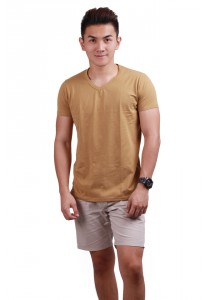 ViQ V Neck T-Shirt (Beige)