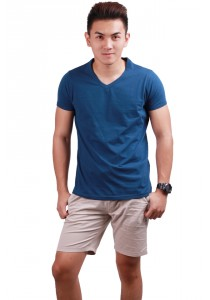ViQ V Neck T-Shirt (Dark Blue)
