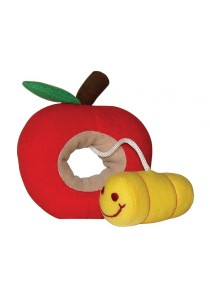 Dogit Luvz Fruit & Worm Dog Toy with Squeaker-Red Apple