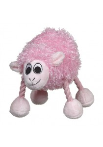 """Dogit """"Puppy Luvz"""" Plush Dog Toy with Squeaker - Pink Sheep"""