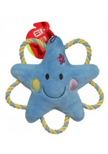 """Dogit """"Happy Luvz"""" Plush Dog Toy with Squeaker - Sandy the Star - Small"""