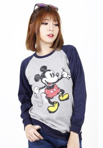 Simple Casual Printing Long Sleeve Tee (Blue)