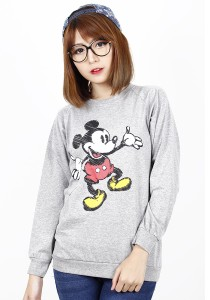 Simple Casual Printing Long Sleeve Tee (Grey)