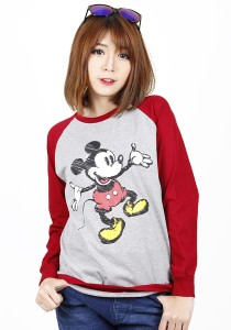 Simple Casual Printing Long Sleeve Tee (Red)