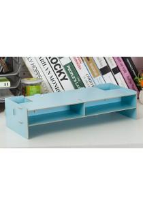 DIY Wooden PC Stand Organizer Box (Blue)