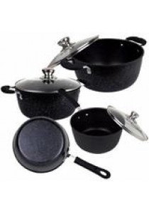 7pcs Marble Stone Nonstick Frying Pan, Saucepan & Casserole Pot with Glass Lid Induction Cookware Set (Black)