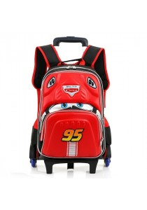 Wheels Kids Trolley Elementary School Car 3D Waterproof Backpack