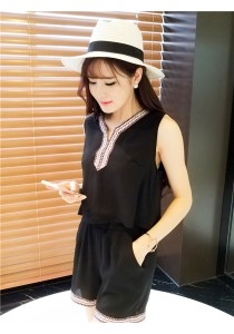 La Diva Festiva New Summer Korean Sleeveless Round Collar Shirt And Pantie
