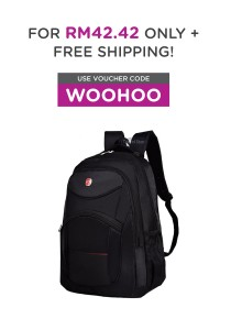 Travel Star 056 Premium Double Strap Nylon Laptop Backpack (Black)
