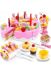 DIY Fruit Birthday Cake Pretend Play Food Toy Set, Pink