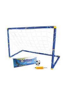 Football Goal Stand Set Indoor Outdooor With Net (For Kids 90cm) (Blue) + Pump+ Ball