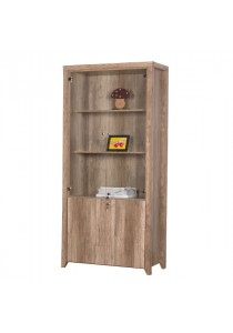 Dove Bookshelf with Glass Door - Teak