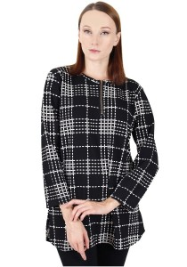 KM Muslimah Blouse Plaid With Zip Top Free Size