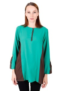 KM Muslimah Two Tone Blouse With Zip Free Size