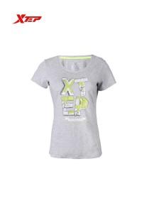XTEP Women's Short Sleeve Sport Running Tee - 985228011180 - Light Grey