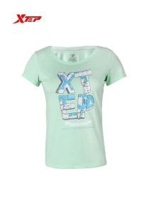 XTEP Women's Short Sleeve Sport Running Tee - 985228011282 - Light Green