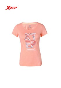 XTEP Women's Short Sleeve Sport Running Tee - 985228011282 - Orange