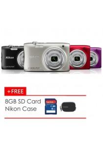 Nikon Coolpix A100 16MP Digital Camera + 8GB + Case (Black/Purple/Red/Silver)