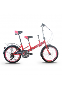 """Asogo A1520615-BC 20"""" Tandem Foldable Bike with 7 Speed (Pink)"""
