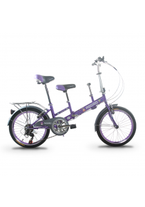 """Asogo A1520615-BC 20"""" Tandem Foldable Bike with 7 Speed (Purple)"""