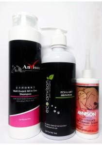 Anvison Super Saver 26 (Well Guard Shampoo) - Well Guard Shampoo 400ml, Eco-Anvison Itch & Anti Irritation Shampoo 400ml and 3 in 1 Essence  Ear Cleanser 110ml