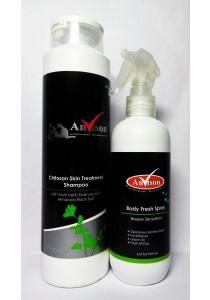 Anvison Valued Pack 29 (Treatment Shampoo) - Chitosan Skin Treatment Shampoo 400ml and Breeze Sensations Body Fresh Spray 230m