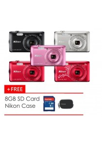 Nikon Coolpix A300 Camera + 8GB + Case  (Black/Pink/Red/Red2/Silver) (Official Nikon Malaysia Warranty)