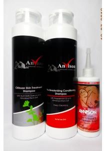 Anvison Super Saver 32 (Skin Treatment Shampoo) - Chitosan Skin Treatment Shampoo 400ml, Deep Cleansing Shampoo 400ml and 3 in 1 Essence Ear Cleanser 110ml