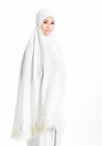 Telekung Lace Siti Aishah (Pearl White)