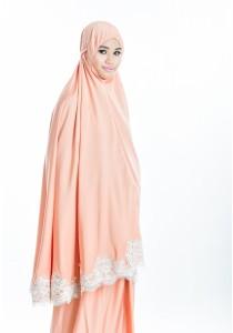 Telekung Lace Siti Aishah (Nude Peach)